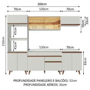 Cozinha Completa Madesa Reims 260002 com Armário e Balcão - Branco