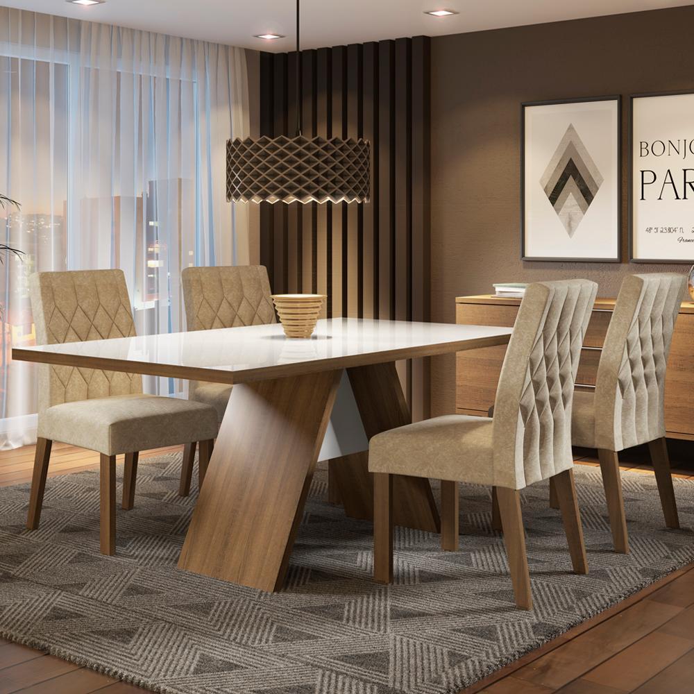 Conjunto Sala de Jantar Madesa Joana Mesa Tampo de Vidro com 4 Cadeiras