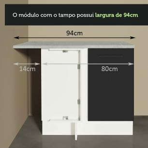 Balcão de Canto Madesa Agata 1 Porta - Branco/Preto