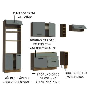 Cozinha Completa Madesa Agata 290002 com Armário e Balcão (Sem Tampo e Pia) - Rustic/Cinza