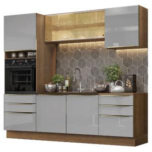 Cozinha Completa Madesa Lux 240002 com Armário e Balcão - Rustic/Cinza