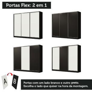 Guarda Roupa Casal 100% MDF Madesa Zurique 3 Portas de Correr - Preto/Preto/Branco