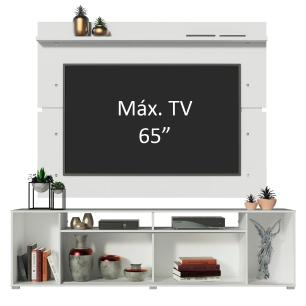 Rack Madesa Cancun e Painel para TV até 65 Polegadas - Branco/Branco/Preto