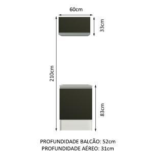 Kit Área de Serviço Madesa Topazio 60 cm com Armário e Balcão - Branco/Preto