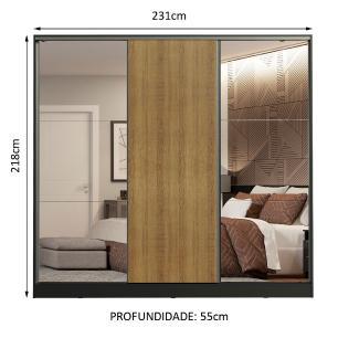 Guarda Roupa Casal 100% MDF Madesa Royale 3 Portas de Correr com Espelhos - Preto/Rustic