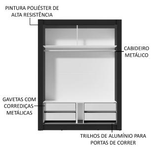 Guarda-Roupa Solteiro Madesa Dallas Plus 2 Portas de Correr com Espelho 4 Gavetas - Preto/Carvalho