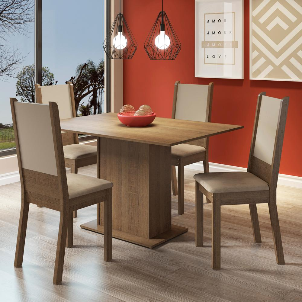 Conjunto Sala de Jantar Madesa Bia Mesa Tampo de Madeira com 4 Cadeiras