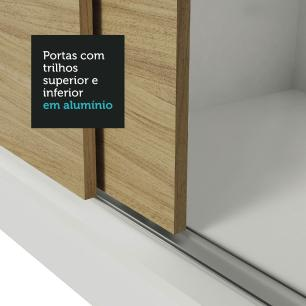 Guarda-Roupa Casal Madesa Reno 3 Portas de Correr com Espelhos - Branco/Carvalho