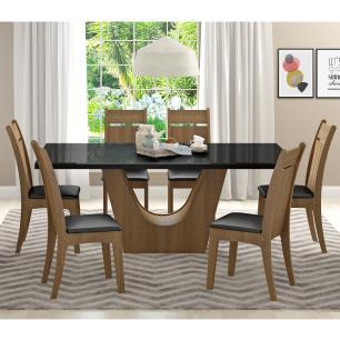 Conjunto Sala de Jantar Madesa Urbi Mesa Tampo de Vidro com 6 Cadeiras