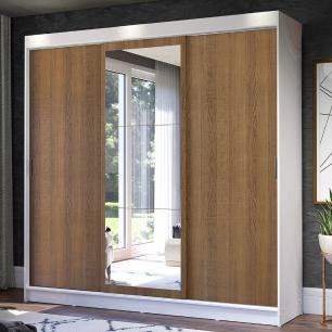 Guarda-Roupa Casal Madesa Istambul 3 Portas de Correr com Espelho 3 Gavetas - Branco/Rustic