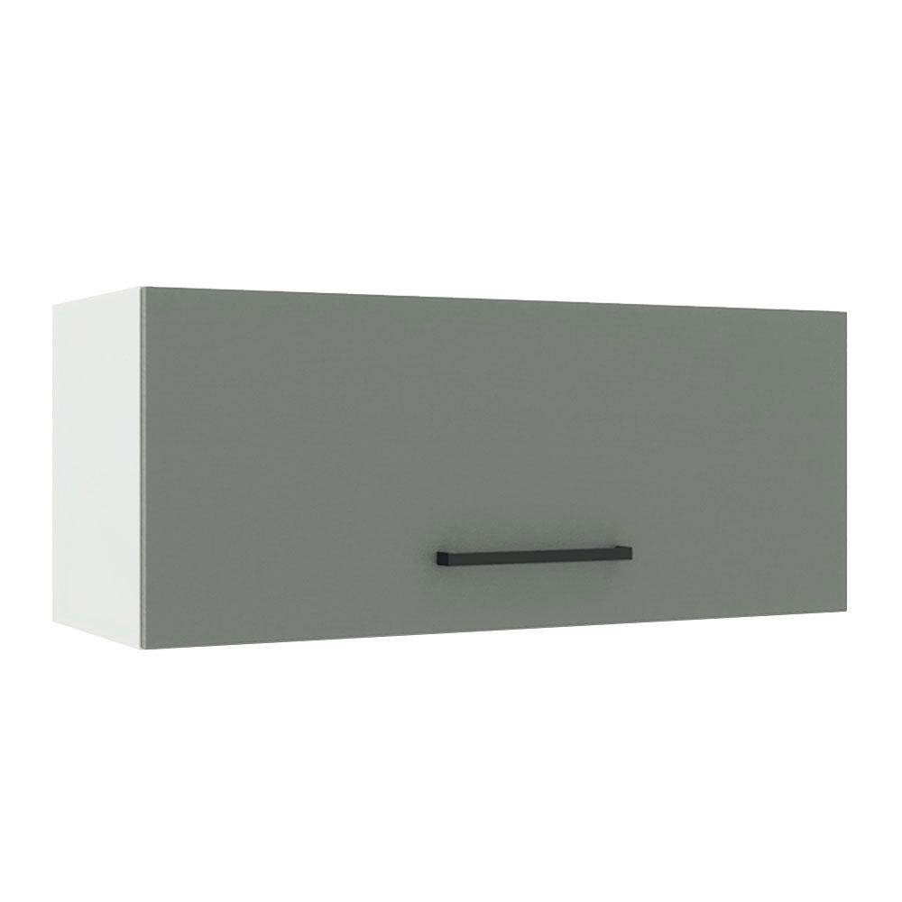 Armário Aéreo Madesa Agata 80 cm 1 Porta Basculante - Branco/Cinza