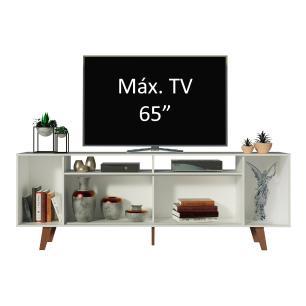 Rack para TV até 65 Polegadas Madesa Cancun com Pés - Branco/Rustic/Rustic