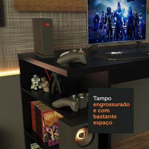 Mesa para Computador Gamer Madesa 9409 e Painel para TV até 50 Polegadas - Preto/Rustic