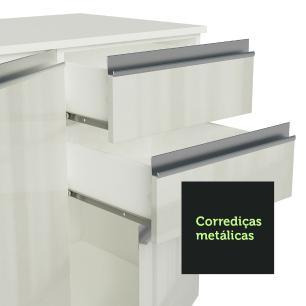 Armário de Cozinha Compacta Madesa Smart 100% MDF 120 cm com Balcão e Tampo - Frentes Branco Brilho