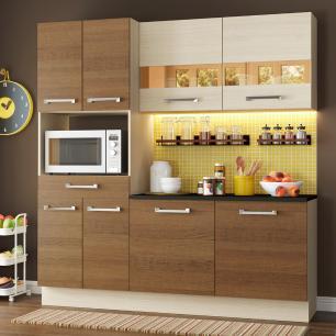 Cozinha Compacta Madesa Rubi com Armário e Balcão 8 Portas 1 Gaveta
