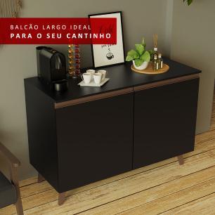 Balcão Cantinho do Café Madesa Reims 2 Portas - Preto