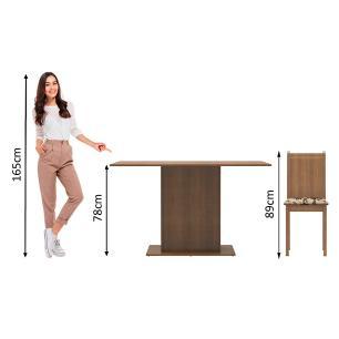 Conjunto Sala de Jantar Madesa Celeny Mesa Tampo de Madeira com 6 Cadeiras - Rustic/Bege Marrom