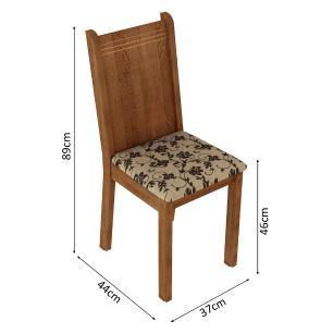 Kit 4 Cadeiras de Jantar 4290 Madesa Rustic/Bege Marrom
