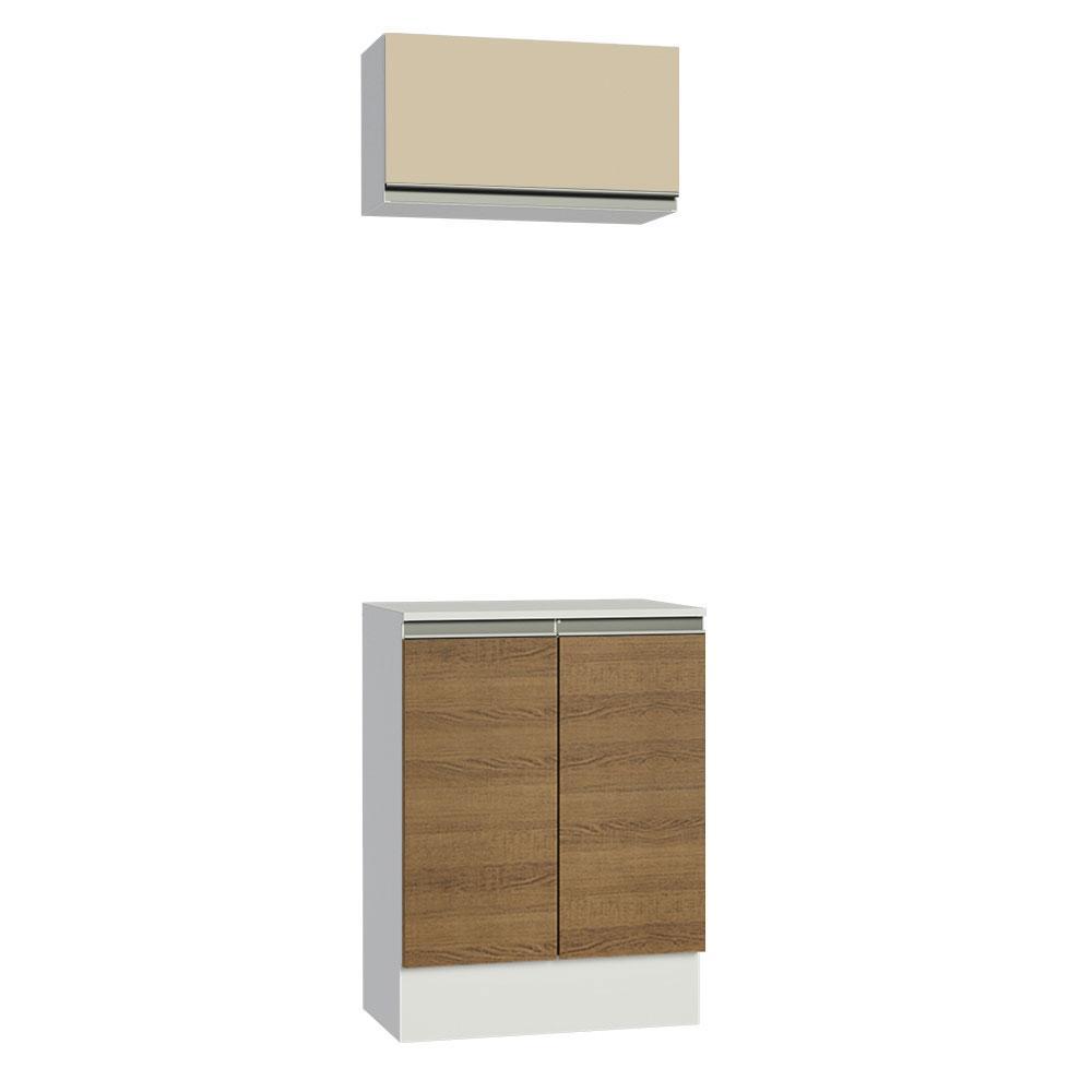 Kit 60 cm Madesa Smart 100% MDF 2 Portas e 1 Suspensa Com Tampo - Branco/Rustic/Crema