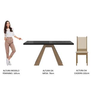 Conjunto Sala de Jantar Madesa Dafne Mesa Tampo de Vidro com 4 Cadeiras - Rustic/Preto/Crema/Bege