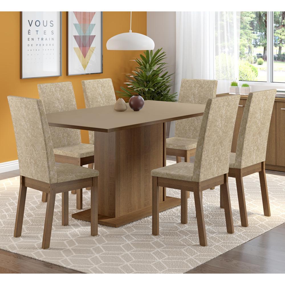 Conjunto Sala de Jantar Madesa Madri Plus Mesa Tampo de Madeira com 6 Cadeiras