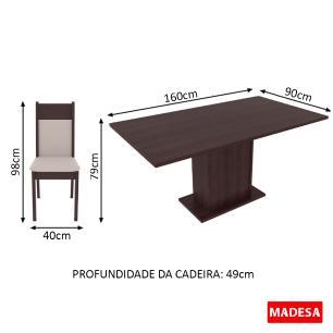 Conjunto Sala de Jantar Lousiana Madesa Mesa Tampo de Madeira com 6 Cadeiras