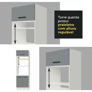 Torre Quente Madesa Agata 70 cm 3 Portas - Branco/Cinza