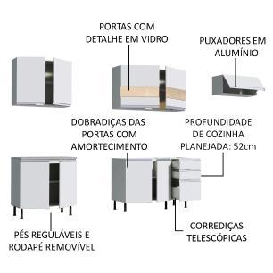 Cozinha Completa Madesa Marcela Com Armário e Balcão (Sem Tampo e Pia)
