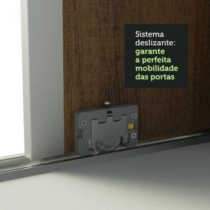 Guarda Roupa Infantil 100% MDF Madesa Logan 3 Portas de Correr com Espelho com Pés - Branco/Rustic