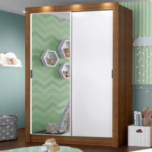 Guarda-Roupa Infantil Madesa Enzo 2 Portas de Correr com Espelho