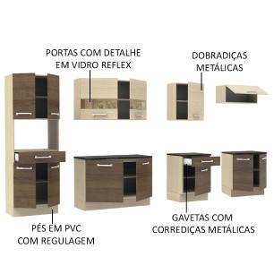 Cozinha Compacta Madesa Rubi com Armário e Balcão 13 Portas 2 Gavetas