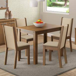 Conjunto Sala de Jantar Cíntia Madesa Mesa Tampo de Madeira com 4 Cadeiras
