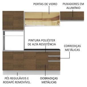 Cozinha Completa Madesa Acordes 100% MDF com Armário e Balcão  + Tampo - Branco/Rustic