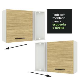 Armário Aéreo de Canto Madesa Agata 1 Porta - Branco/Carvalho