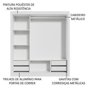 Guarda-Roupa Casal Madesa Lyon Plus 3 Portas de Correr com Espelho 4 Gavetas - Branco/Carvalho