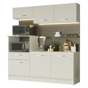 Cozinha Compacta Madesa Onix 180001 com Armário e Balcão - Branco
