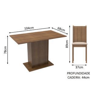 Conjunto Sala de Jantar Madesa Luana Mesa Tampo de Madeira com 4 Cadeiras