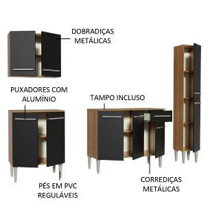 Cozinha Completa Madesa Emilly Sing com Armário, Balcão e Paneleiro - Rustic/Preto