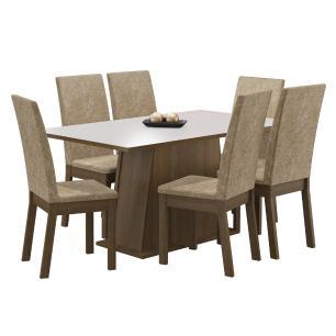 Conjunto Sala de Jantar Thaís Madesa Mesa Tampo de Madeira com 6 Cadeiras