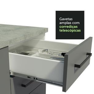 Cozinha Completa Madesa Agata 290002 com Armário e Balcão (Sem Tampo e Pia) - Branco/Cinza