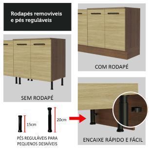 Balcão Madesa Agata 80 cm 2 Portas - Rustic/Carvalho