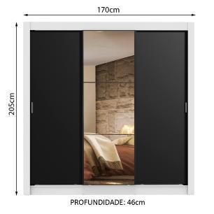 Guarda Roupa Casal Madesa Lyon 3 Portas de Correr com Espelho 2 Gavetas - Branco/Preto