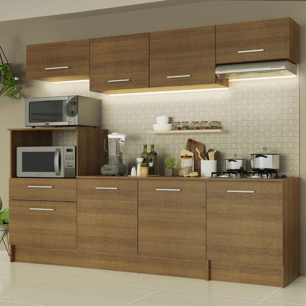 Cozinha Completa Madesa Onix 240001 com Armário e Balcão - Rustic