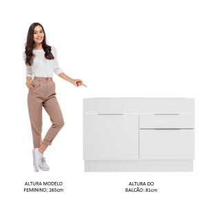 Balcão de Pia Madesa Stella 1 Porta e 2 Gavetas - Branco