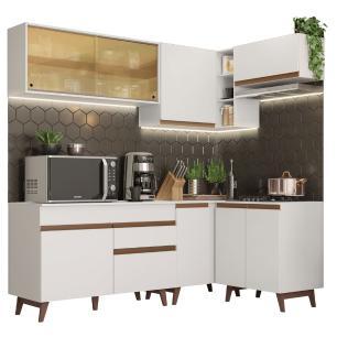 Cozinha Completa de Canto Madesa Reims 332002 com Armário e Balcão - Branco