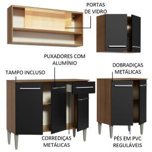 Cozinha Completa Madesa Emilly Dance com Balcão e Armário Vidro Reflex - Rustic/Preto