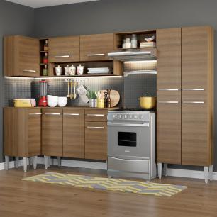 Cozinha Completa de Canto Reto Madesa Emilly Sun com Armário e Balcão 11 Portas 1 Gaveta