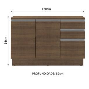 Balcão de Pia Madesa Glamy 120 cm 2 Portas e 3 Gavetas (Com Tampo) - Rustic