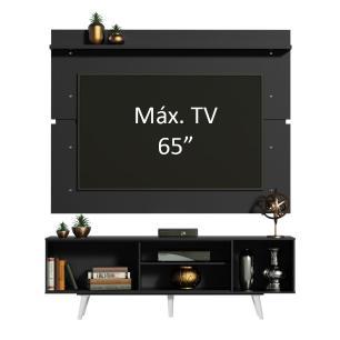 Rack Madesa Dubai e Painel para TV até 65 Polegadas com Pés - Preto/Branco