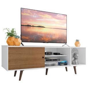 Rack Madesa Dubai para TV até 65 Polegadas com Pés - Branco/Rustic/Rustic